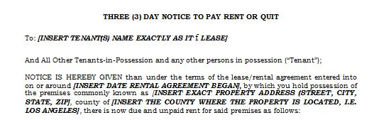 Free 3 Day Notice to Pay Rent or Quit California