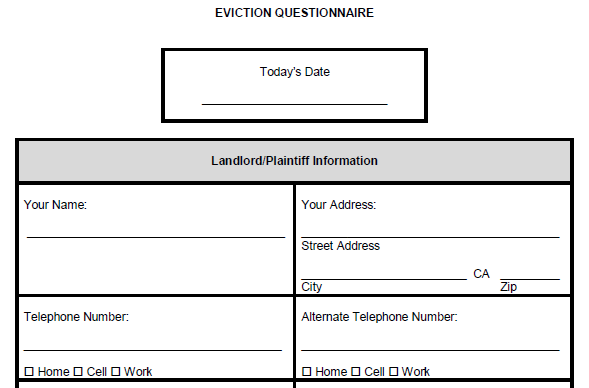 Eviction questionnaire for landlords.
