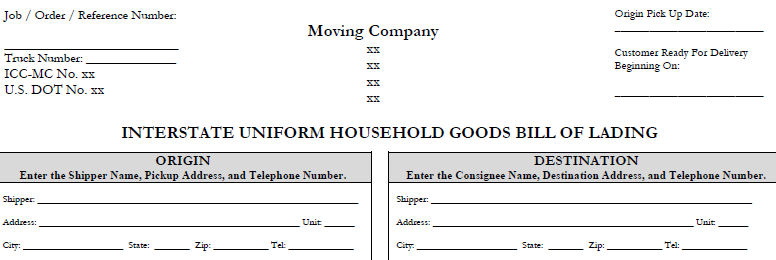 HHG Bill of Lading and Forms Archives – Sample Bill of Lading Form