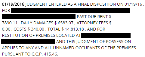 Unlawful Detainer Eviction Money Judgment Collections