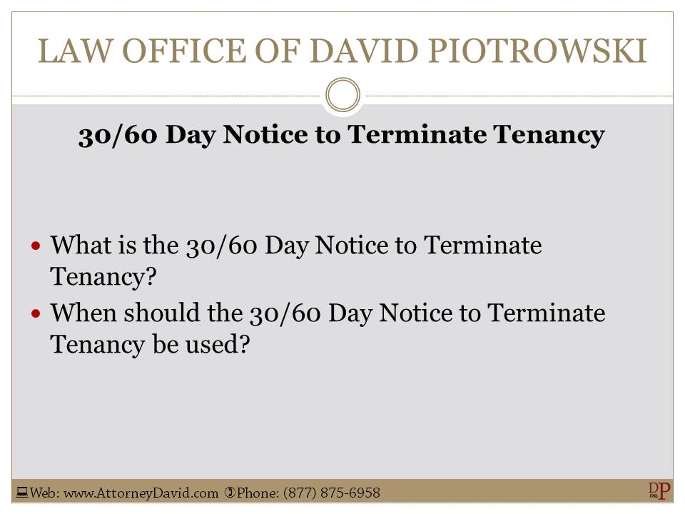 California 30 / 60 Day Notice To Terminate Tenancy Sample -