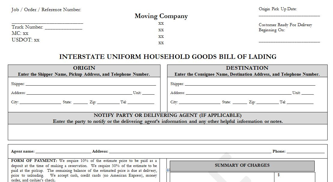 Sample Household Goods Bill Of Lading Template