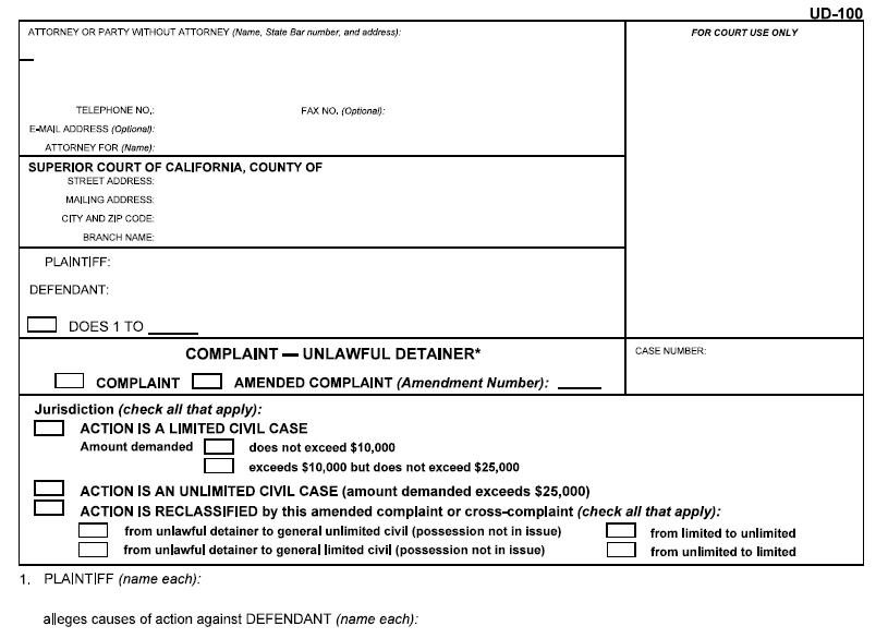UD-100 Unlawful Detainer California