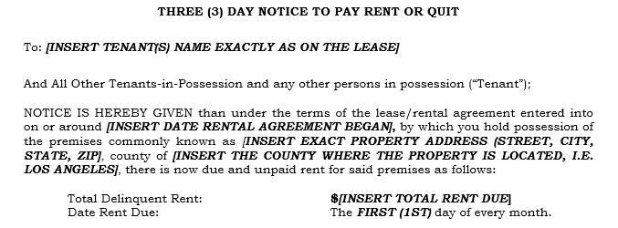 How do i fill out a 3 day notice to pay rent or quit in for Notice to pay rent or quit template