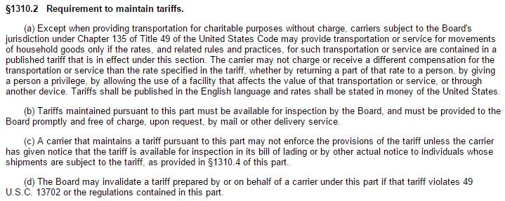 household goods tariff publishing