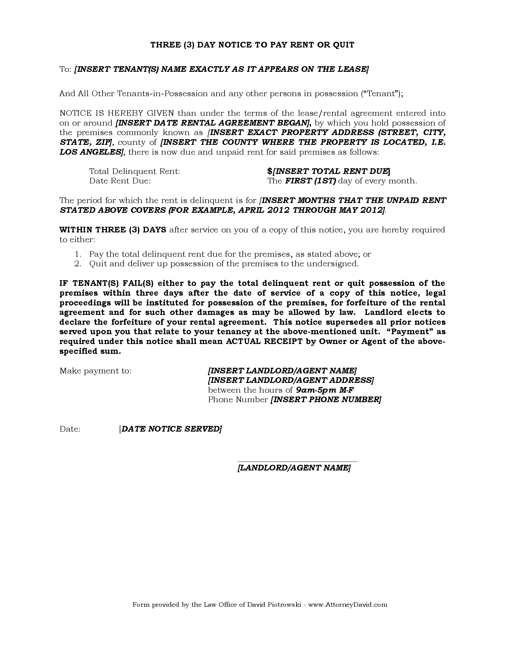3 day eviction notice for non payment of rent in california free 3 day eviction notice free altavistaventures Image collections